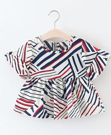 Pre Order - Awabox Striped Bell Sleeves Top - White