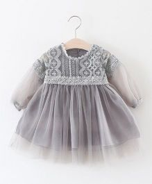 Pre Order - Awabox Embroidered Net Dress - Gray