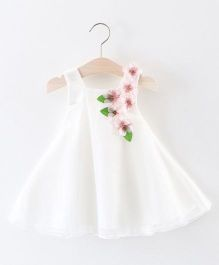 Pre Order - Awabox Flower Applique Flared Dress - White