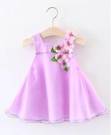 Pre Order - Awabox Flower Applique Flared Dress - Purple
