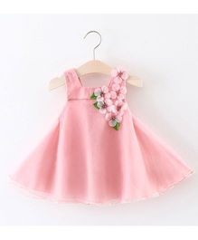 Pre Order - Awabox Flower Applique Flared Dress - Pink