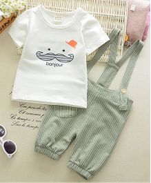 Pre Order - Dells World Mustache Print Tee With Striped Dungaree - White & Green
