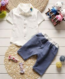 Pre Order - Dells World Shirt With Balloons Embroidered Collar & Striped Pants - White & Blue