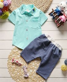 Pre Order - Dells World Shirt With Balloons Embroidered Collar & Striped Pants - Green & Blue