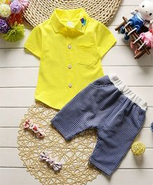 Pre Order - Dells World Shirt With Balloons Embroidered Collar & Striped Pants - Yellow & Blue