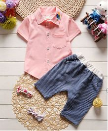 Pre Order - Dells World Shirt With Balloons Embroidered Collar & Striped Pants - Light Pink & Blue