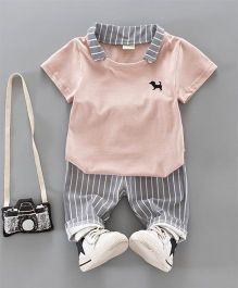 Pre Order - Dells World Striped Pant & Tee With Dog Embroidery - Light Pink & Grey