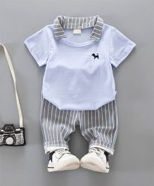Pre Order - Dells World Striped Pant & Tee With Dog Embroidery - Blue & Grey