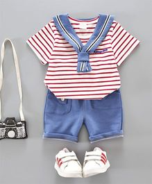 Pre Order - Dells World Knotted Collar Striped Tee & Pant - Red