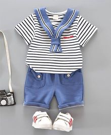 Pre Order - Dells World Knotted Collar Striped Tee & Pant - Black