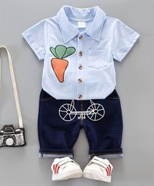 Pre Order - Dells World Carrot Design Shirt With Funky Cycle Print Pants - Blue