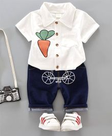 Pre Order - Dells World Carrot Design Shirt With Funky Cycle Print Pants - White