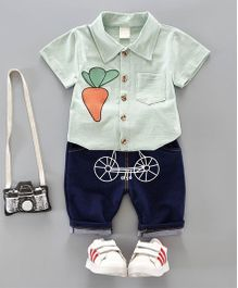 Pre Order - Dells World Carrot Design Shirt With Funky Cycle Print Pants - Green