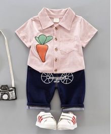 Pre Order - Dells World Carrot Design Shirt With Funky Cycle Print Pants - Pink