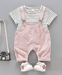 Pre Order - Dells World Striped Tee & Dungaree With Star Applique - Pink