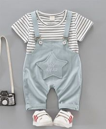 Pre Order - Dells World Striped Tee & Dungaree With Star Applique - Cadet Blue