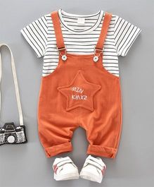 Dells World Striped Tee & Dungaree With Star Applique - Orange