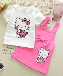 Pre Order - Dells World Kitten Print Top & Dungaree Style Dress With Bow - White & Pink