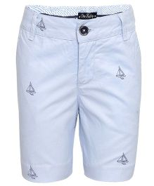One Friday Ship Print Formal Shorts For Boys - Blue