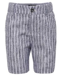 One Friday Striped Formal Cotton Shorts - Blue