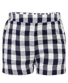 One Friday Checkered Shorts With Side Buttons - Blue & White
