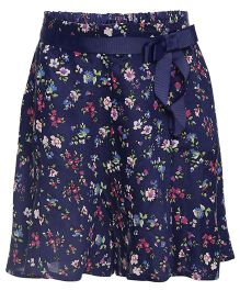 One Friday Floral Printed Skirt With Front Bow - Navy Blue
