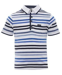 One Friday Striped Polo Neck T-Shirt - Blue