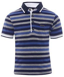 One Friday Polo Neck T-Shirt With Stripes - Blue