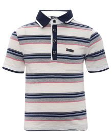 One Friday Polo Neck T-Shirt With Stripes - Beige
