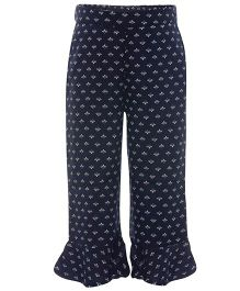 One Friday Printed Leggings With Layered Bottom - Navy Blue