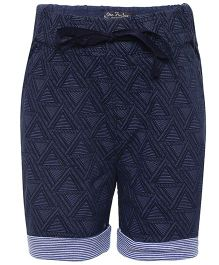 One Friday Printed Shorts With Striped Turn Up At Bottom - Blue