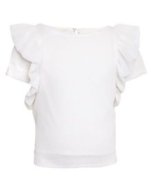 One Friday Solid Pattern Top With Ruffled Sleeves - White