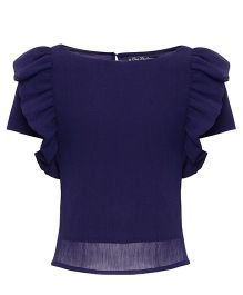 One Friday Solid Pattern Top With Ruffled Sleeves - Navy Blue