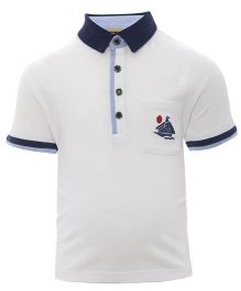 One Friday Polo Neck T-Shirt With Ship Embroidered On Pocket - White