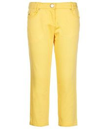 One Friday Cotton Skinny Fit Trousers - Yellow