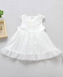 Pre Order - Awabox Net Dress With Polka Print - White