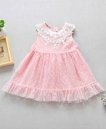Pre Order - Awabox Net Dress With Polka Print - Pink
