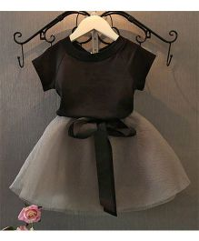 Pre Order - Meemu Classic Skirt And Top Set - Black & Grey