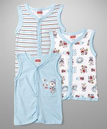 Babyhug Sleeveless Vest Bear Print Pack Of 3 - Blue & White