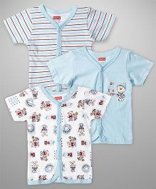 Babyhug Half Sleeves Front Button Bear Print Pack Of 3 - White & Blue