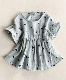 Pre Order - Awabox Printed Flared Dress - Grey
