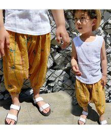 Pre Order - Awabox Printed Harem Pants - Yellow