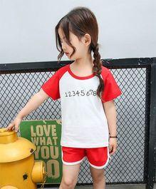 Pre Order - Awabox Numbers Print Tee & Shorts - Red