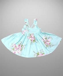 Epice Pretty In Pink Flower Dress - Sky Blue