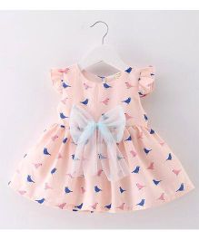 Epice Bird Design Bow Applique Dress - Peach