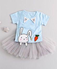 Pre Order - Awabox Bunny Print Tee & Tutu Skirt - Blue