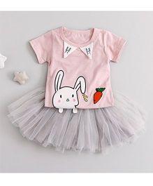 Pre Order - Awabox Bunny Print Tee & Tutu Skirt - Pink