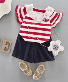 Pre Order - Awabox Striped Top & Shorts - Red