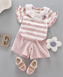 Pre Order - Awabox Striped Top & Shorts - Pink