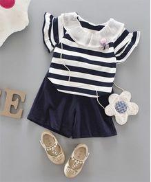 Pre Order - Awabox Striped Top & Shorts - Navy Blue